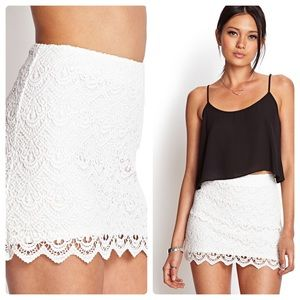 NWT White Crocheted Scalloped Hem Mini Skirt Small